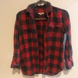 Madewell red and black checkered shirt